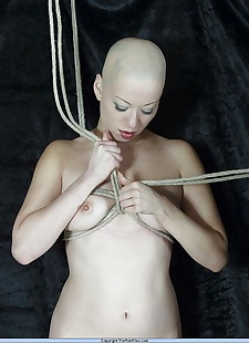 sex pics Amateur shaven headed asian chick is, Kumi Monster , bondage , bdsm