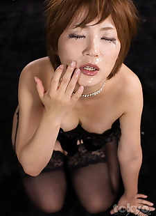 japanese sex pics Redhead Japanese girl wipes cum from, spreading , hairy