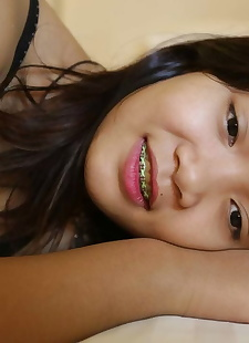 sex pics Young looking Thai girl in braces, shorts , close up  hairy